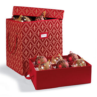 "Red Fleur De Lis Ornament Storage Box for 6"" Ornaments"