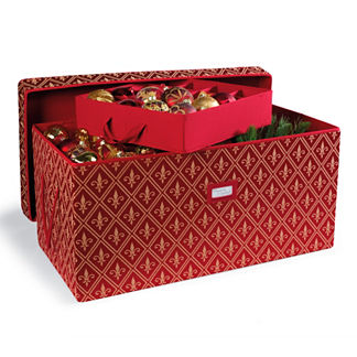 Red Fleur De Lis Ornament Storage Trunk