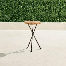 "Large (16-1/2"" dia.) Petrified Wood Tripod Table"