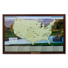 World magnetic travel map with burlwood frame frontgate personalized golf courses of the usa map gumiabroncs Images