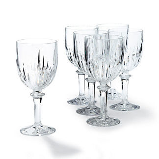 Portofino Acrylic Cut Crystal Wine Goblets, Set of Six