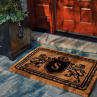 Lion Crest Monogram Door Mat