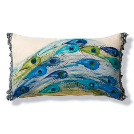 Handpainted Peacock Feathers with Jewels Outdoor Lumbar Pillow