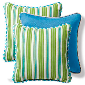 Set of Three Gingko Stripe Designer Pillows