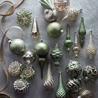 60-pc. Silver and Sage Ornament Collection