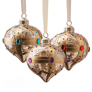 Set of Four Glass Ornaments with Jewel Tone Crystals