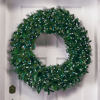 Manhattan outdoor pre lit greenery collection frontgate for Led wreath outdoor