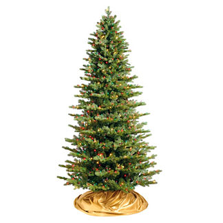 Designer Lit Slim Mountain Spruce Christmas Tree with FlipTree Stand & Storage Bag