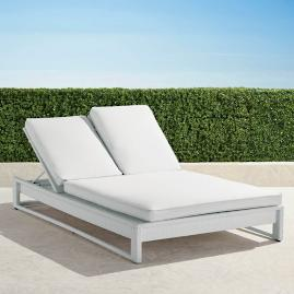 Palermo Double Chaise Lounge with Cushions in White