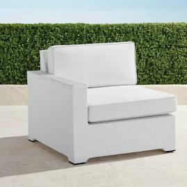 Palermo Left-facing Chair with Cushions in White Finish