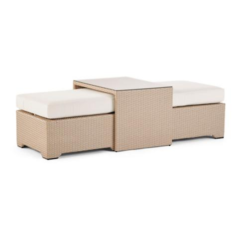 Palermo Coffee Table With Nesting Ottomans In Linen Finish
