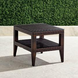 Palermo Glass-overlay Side Table in Bronze Finish