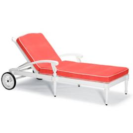 Glen Isle Chaise Lounge with Cushions in White