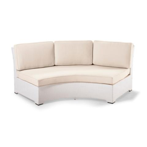 Palermo Armless Curved Sofa With Cushions In White Finish
