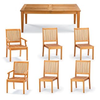 Cassara 7-pc. Rectangular Dining Set in Natural Finish