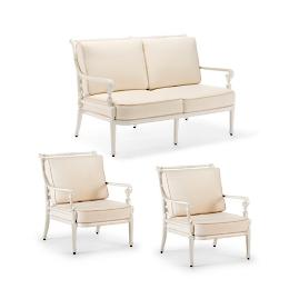 Carlisle 3-pc. Loveseat Set in Parisian Ivory Finish
