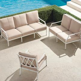 Grayson 3-pc. Sofa Set in White Finish