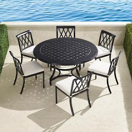 Grayson 7-pc. Round Dining Set in Black Finish