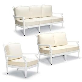 Glen Isle 3-pc. Sofa Set in White Finish