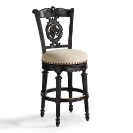 "Carved Grapes Swivel Counter Height Bar Stool (26""H"