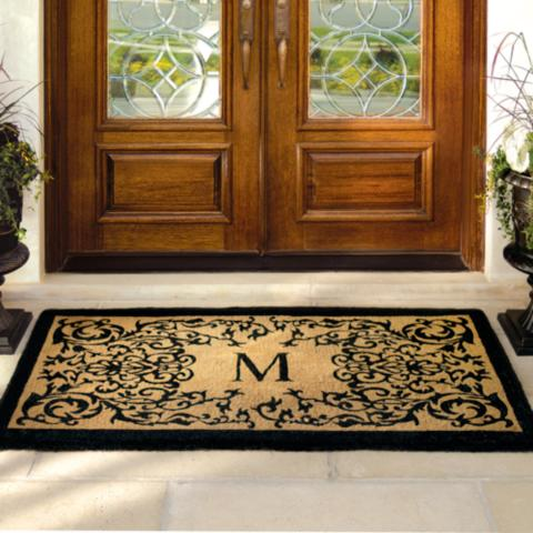 monogram front intended door welcome for awesome doormat barn in mats mat new monogrammed pottery