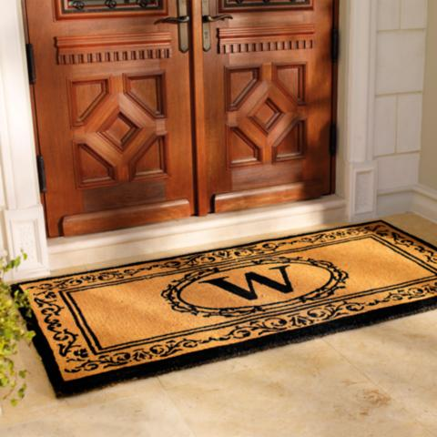 rugs mat peytonmeyer door ideas mats themiracle monogram and front captivating biz l net unique monogrammed