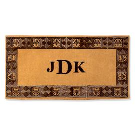 Greek Key Three Inital Door Mat