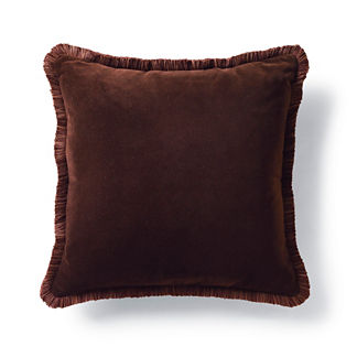 Velvet Decorative Pillow with Fringe