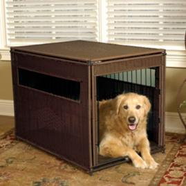 Luxury Mahogany Pet Residence Dog Crate Frontgate