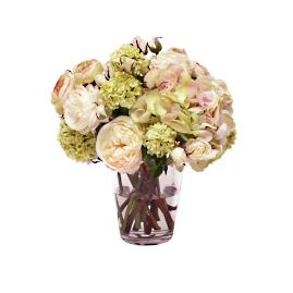 Hydrangea and Rose Liquid Illusion Bouquet in Vase