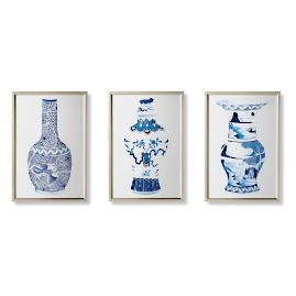 Watercolor Blue Ming Giclée, Set of Three