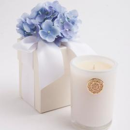 Blue Hydrangea Scented Candle in Flower Gift Box