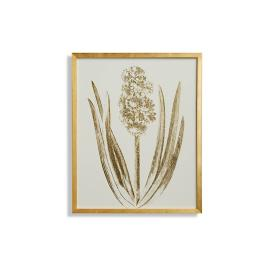 Royal Crimson Hyacinth Gilded Silkscreen Botanical Print on