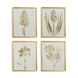 Gilded Silkscreen Botanical Prints on White from the