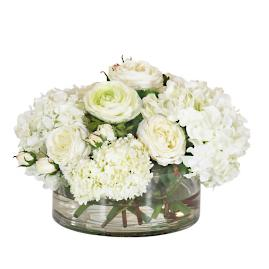 Hydrangea & Snowball in Clear Vase
