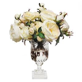 Mixed Rose in Leaf Cut Vase