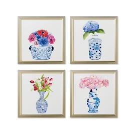 Watercolor Blue Ming with Florals Giclées, Set of