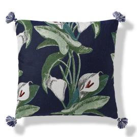 Calla Lily Tasseled Indoor/Outdoor Pillow - Midnight