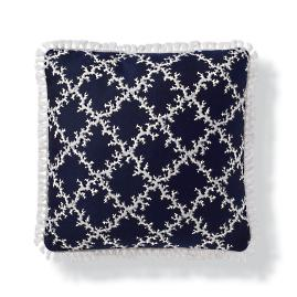 Coral Lattice Indoor/Outdoor Pillow - Indigo