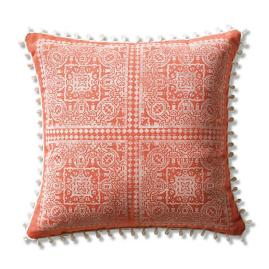Moroccan Loop Block Print Indoor/Outdoor Pillow in Sangria