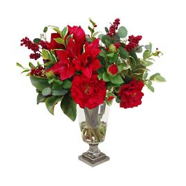 "24"" Red Amaryllis and Camellia in Vase"