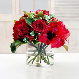 Rose and Holly Pick in Vase