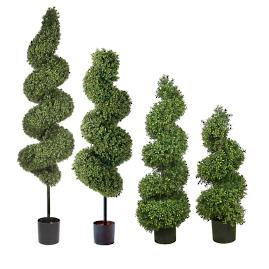 "45"" Spiral Outdoor Boxwood Topiary"