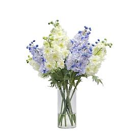 Blue and White Delphinium in Tall Vase