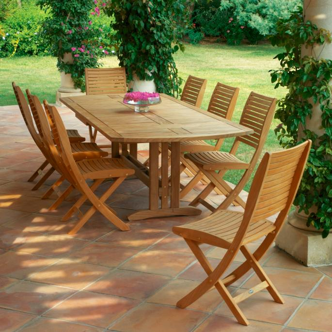 Set Of Two Sillage Teak And Sling Folding Chairs