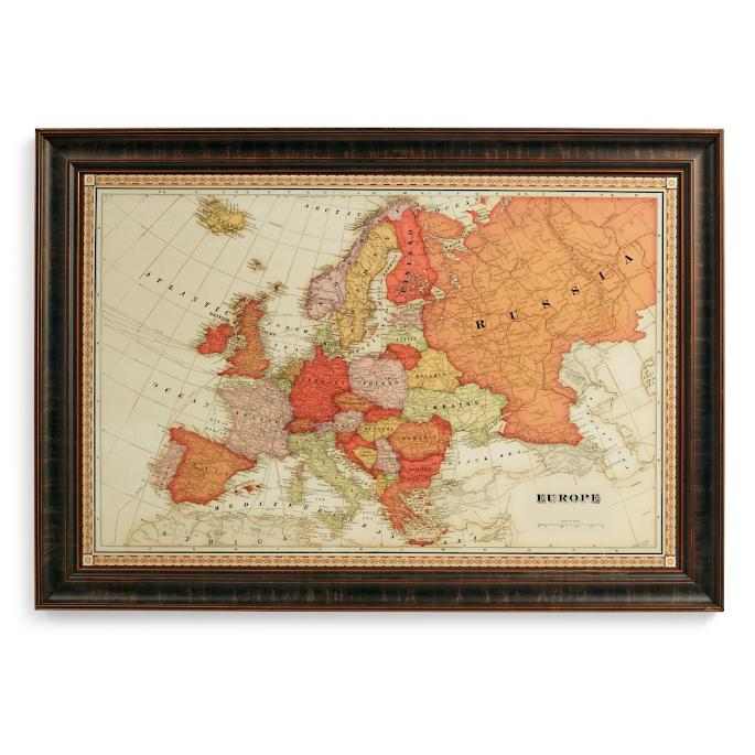 World magnetic travel map with burlwood frame frontgate europe travel map gumiabroncs Gallery