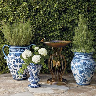 Blue And White Painted Planters Frontgate