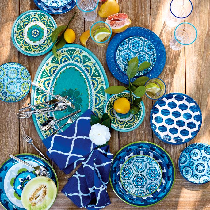Geo Suzani Melamine Dinnerware Set  sc 1 st  Frontgate : dinnerware mix and match - pezcame.com