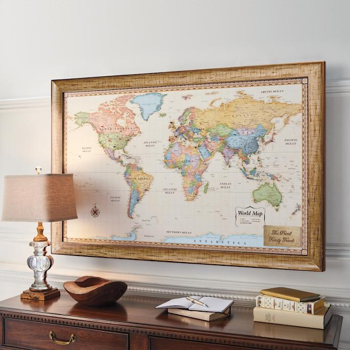 World magnetic travel map with antique white frame frontgate world magnetic travel map with antique white frame gumiabroncs Images