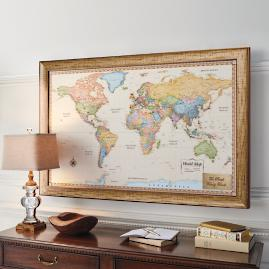 World magnetic travel map with burlwood frame frontgate world magnetic travel map with antique white frame gumiabroncs